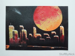 red-yellow planet cityscape